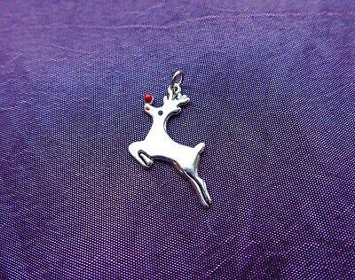 Navidad Reno Clip encanto en Rojo Bolsa De Regalo-Plateado-libre de envío