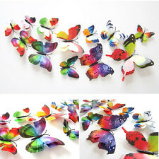 12pcs/bag 3D Double Wing Butterfly Fridge Magnet Wall Stickers Party Decor Multi