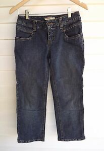 Just-Jeans-Women-039-s-Cropped-Blue-Jeans-with-Back-Zipper-Pockets-Size-7