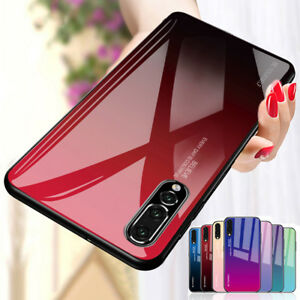 Gradient Case For Huawei Mate 20 Lite P20 Pro Tempered GLASS BACK Hybrid Cover