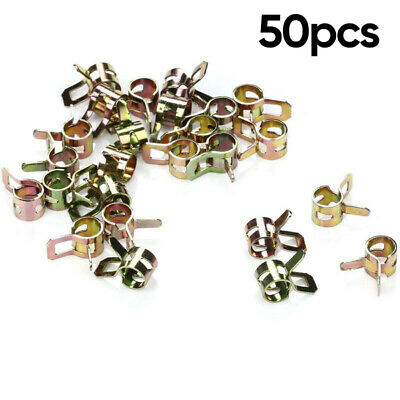 50x 1//4 Fuel Line Clamps For 1//4 In Hose Universal Spring Action Lawn Mower Set