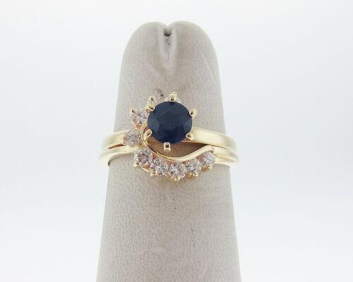 Natural bluee Sapphire Diamonds Solid 14k Yellow gold Ring FREE Sizing