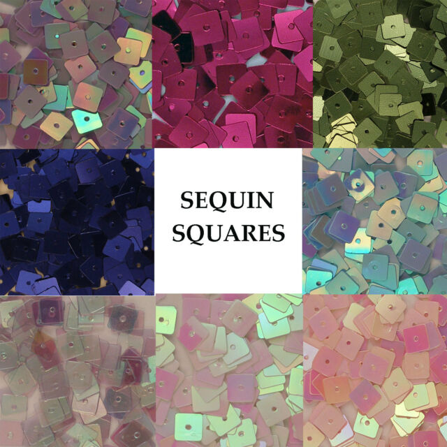 Sequins Squares Loose Various Colors Blue Magenta White Iris Crystal Pink, etc.