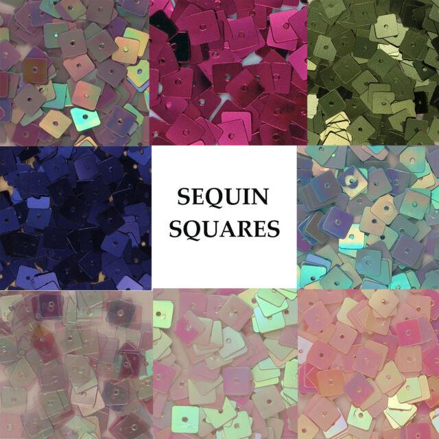 Sequins Squares Loose Various Colors Blue Magenta White Iris Crystal Pink, etc.