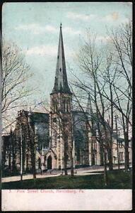 HARRISBURG-PA-Pine-Street-Presbyterian-Church-Antique-Postcard-Old-Vtg-Town-View