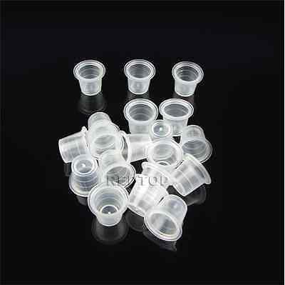100 x 13mm MEDIUM TATTOO INK CUP / CAP clear . ALL SUPPLIES UK