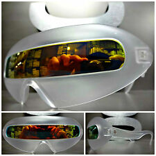 New SPACE ROBOT PARTY RAVE COSTUME CYCLOPS FUTURISTIC SUN GLASSES Gold Revo Lens