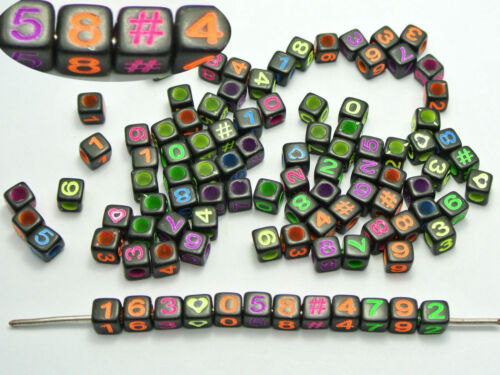 "250 Black with Neon Color Assorted Number /""#/"" Cube Pony Beads 6X6mm"