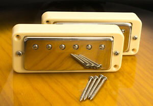 Mini-Humbucker-Conversion-Set-For-P90-Cutout-4-Wire-For-Coil-Tap-Cream