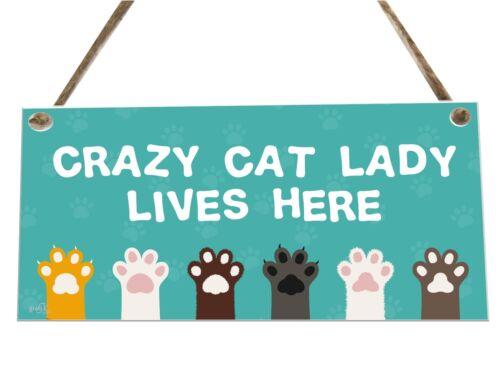 Crazy Cat Lady Animal Citation en bois fantaisie plaque signe Cadeau fcp79