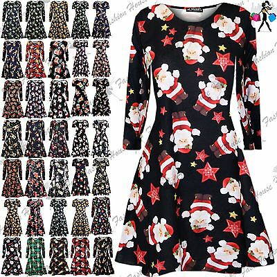 Ladies Christmas Smock Swing Dress Womens Santa Bulldog