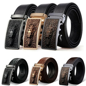 Fashion-Men-Genuine-Leather-Automatic-Buckle-Waistband-Belts-Ratchet-Waist-Strap