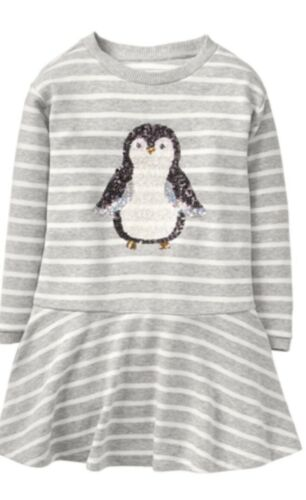 Gymboree Winter Star 7-8 14 Gray Striped Sequin Penguin Dress Holiday 17