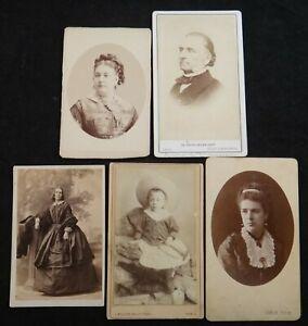 Group-of-5-English-amp-European-1800-s-CDV-Photos