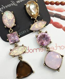 Wholesale-Pink-Crystal-Rhinestone-Ear-Drop-Dangle-Stud-long-71mm-Earrings