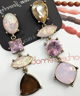 Wholesale Pink Crystal Rhinestone  Ear Drop Dangle Stud long 71mm Earrings