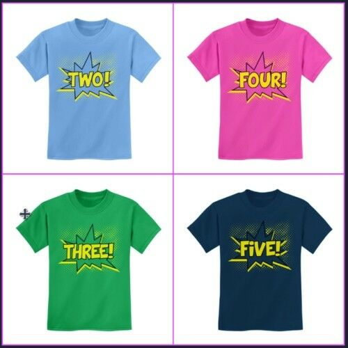 Birthday T-Shirt For 2nd 3rd 4th 5th Party Comic SuperHero 24M 2T 3T 4T 5//6 XS S