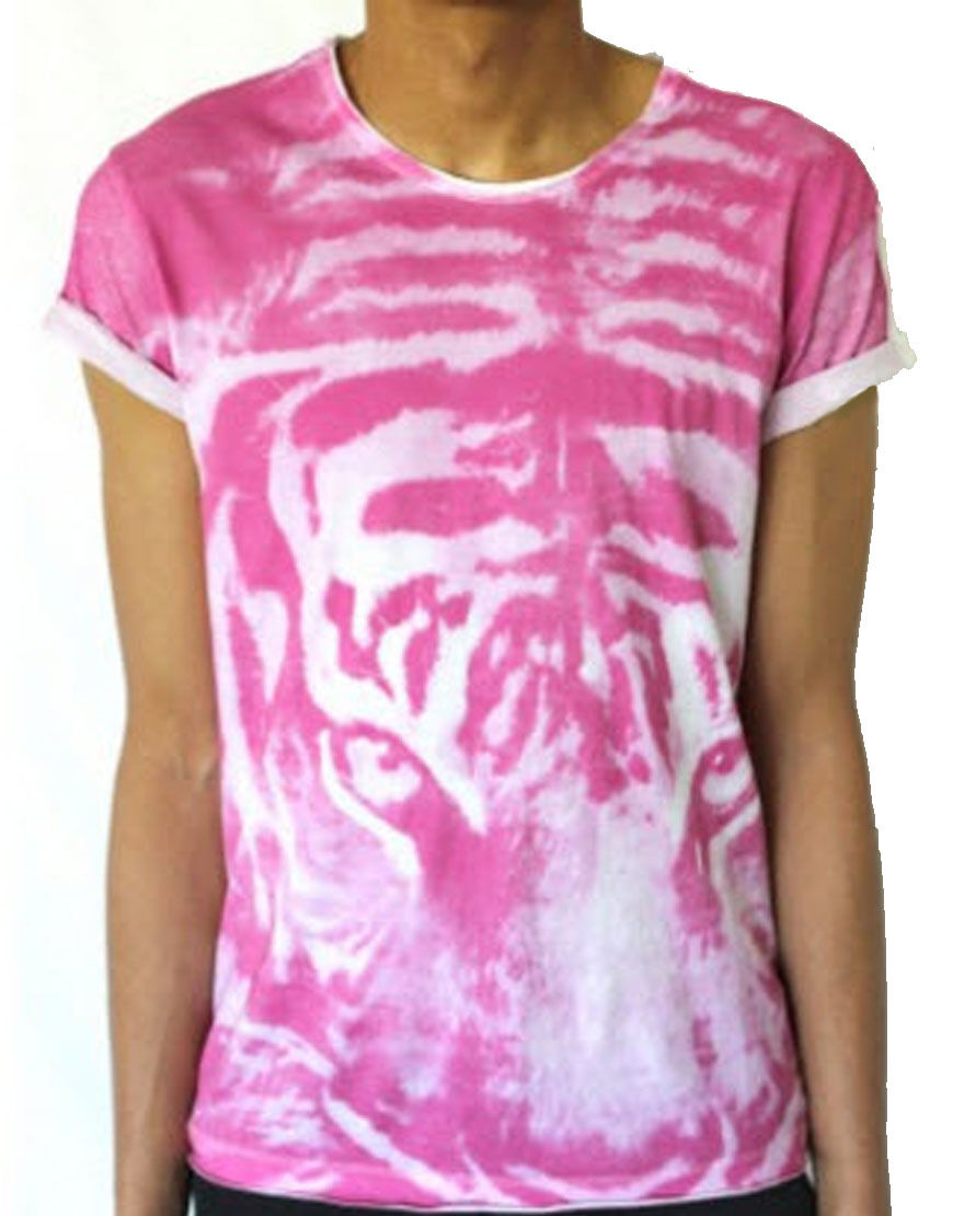 Sons of Heroes Men's Tiger Panel T-Shirt Pink (SHTS006)