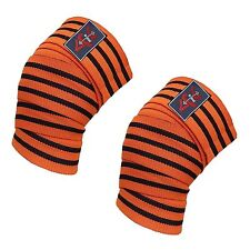 4Fit pair of Power Lifter Weight Lifting Knee Wraps supports for GYM use ORANGE