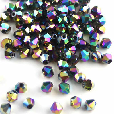 100Pcs Faceted Glass Crystal Charms Bead Spacer Bicone Finding 4mm AB 9 Colors