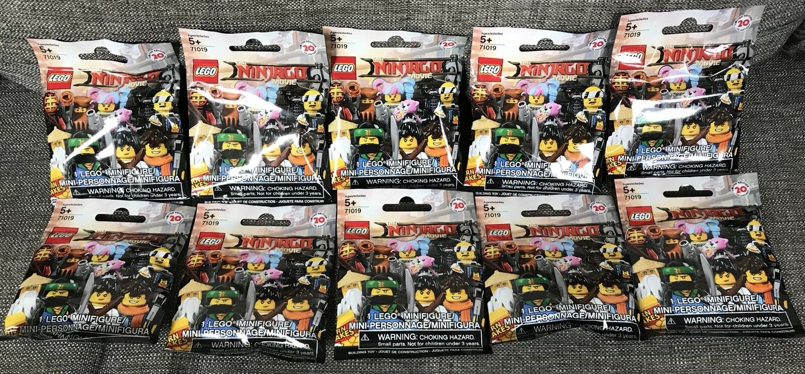 10 Bags OF LEGO NINJAGO Filmän Blind Bag begränsad Edition Mini Figur 71019