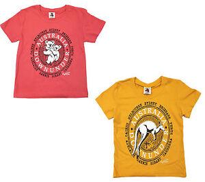 Kids-girls-T-shirt-Australia-Australian-Day-Souvenir-100-cotton-Koala-Kangaroo