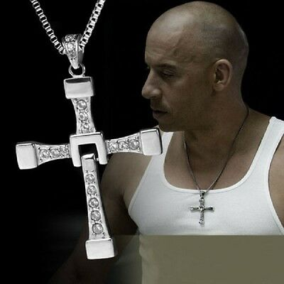 MENS SILVER CROSS NECKLACE   FAST AND FURIOUS DOMINIC TORETTO'S MOVIE UK