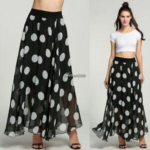 New-Women-Sexy-Boho-Maxi-Polka-Dot-Summer-Beach-Party-Long-Casual-Skirt-Dress-BR