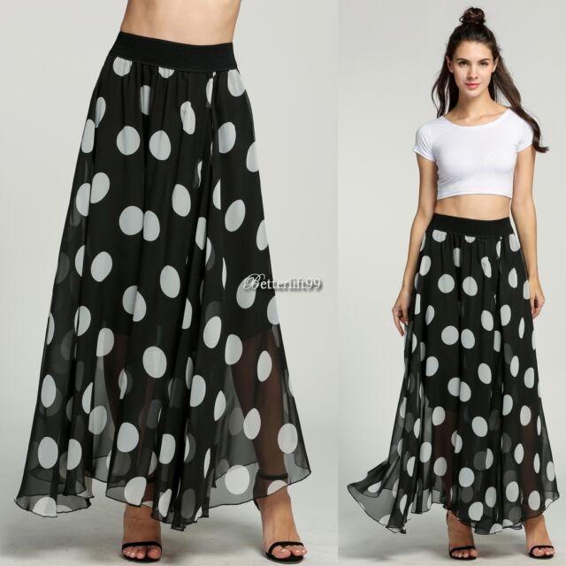 Sexy Women Boho Maxi Polka Dot Summer Beach Party Long Casual Skirt BF9