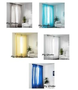 Details About Ikea Vivan Pair Of Curtains 2 Panels Turquoise Yellow Gray Blue White 57 X 98