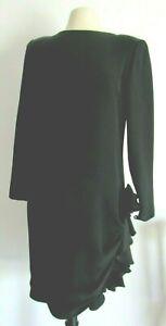 Authentic Christian Dior Robes Du Soir Size 10 Vintage 80 S Black Silk Dress Usa Ebay