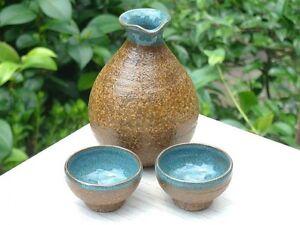 Ochoko-Tokkuri-Japanese-Sake-cup-amp-bottle-set-Kyo-Kiyomizu-yaki-ware-Irabo-graze