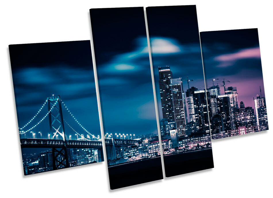 San Bridge Francisco Bay Bridge San horizonte de la ciudad de LONA pared arte Foto impresión de panel de múltiples c7df43
