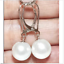 thumbnail 1 - gorgeous  a pair 10-11mm AAA south sea round white pearl dangle earring 14k
