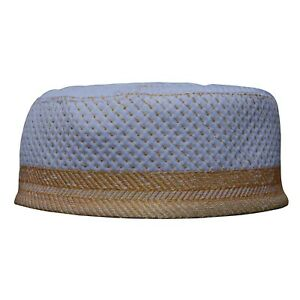 NEW-White-Metallic-Gold-Thread-Islamic-Thinly-Padded-Embroidery-Kufi-Hat-Cap