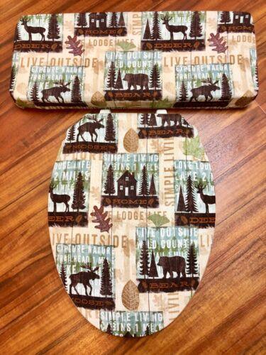 Moose Bear Deer Mountain Home Lodge Bathroom Decor Toilet Seat Lid Cover Set