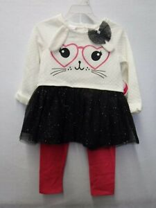 NWT New NANNETTE KIDS Girls Love Top Shirt Shorts Labor Day Outfit 2T 4T $38.00