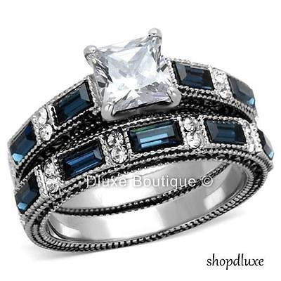 3.45 Ct Princess Cut Clear & Blue CZ Stainless Steel Wedding Set Women's Sz 5-10