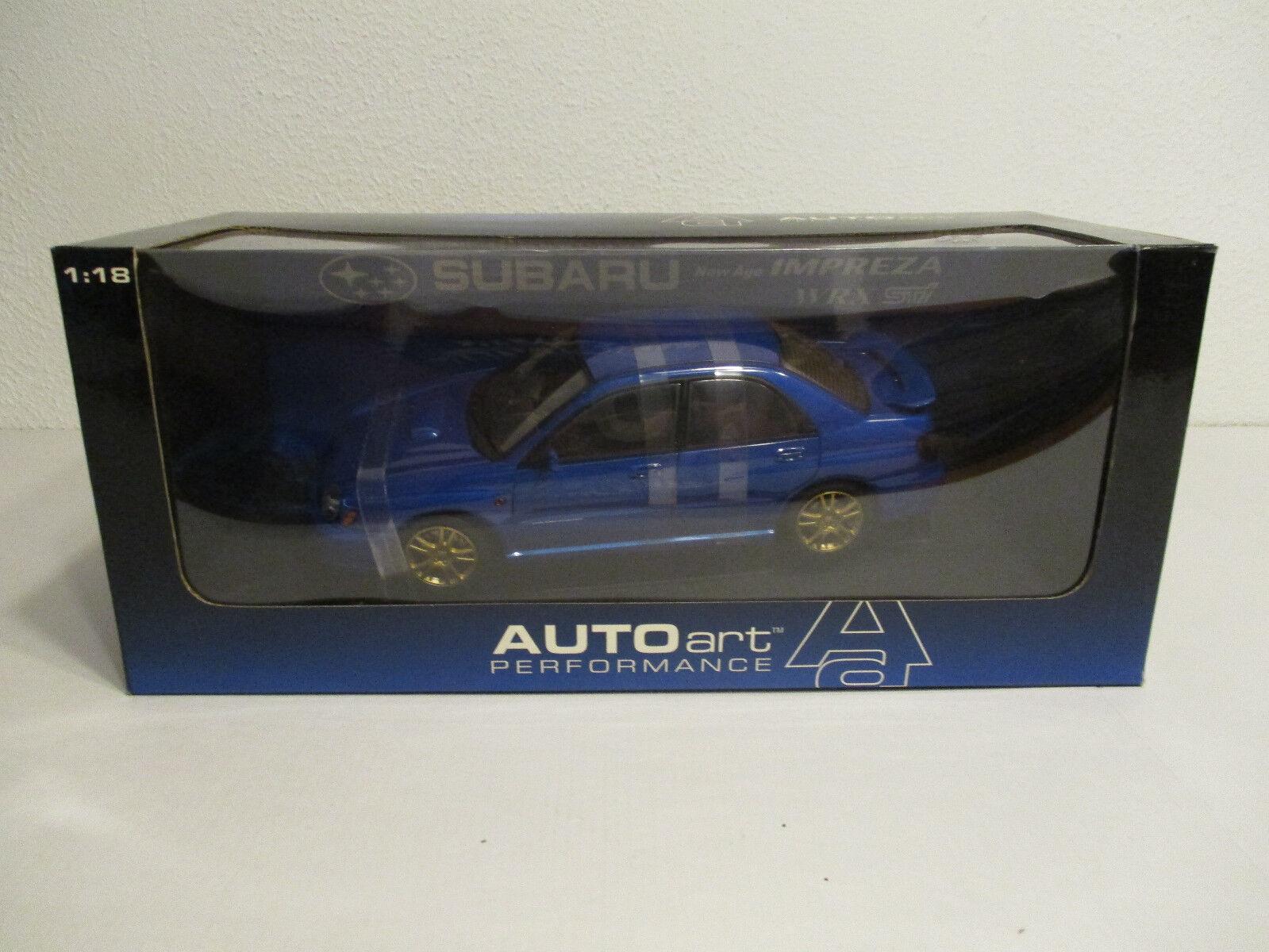 (Modelage) 1 18 Autoart Subaru New Age Impreza WRX STI bleu Nouveau neuf dans sa boîte