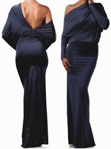 L-DARK-BLUE-Multi-Way-Reversible-PLUNGING-Convertible-MAXI-DRESS-Long-Skirt