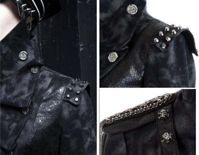 Giacca Asimmetrico Gothic Punk Militare cranio cranio Militare UNGHIE lacci punkrave Uomo 806086