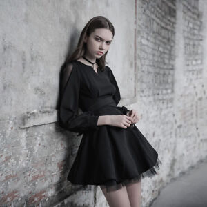 PUNK-RAVE-New-Dark-Fashion-Ultra-high-Belt-Black-Long-Sleeve-V-Collar-Mini-Dress
