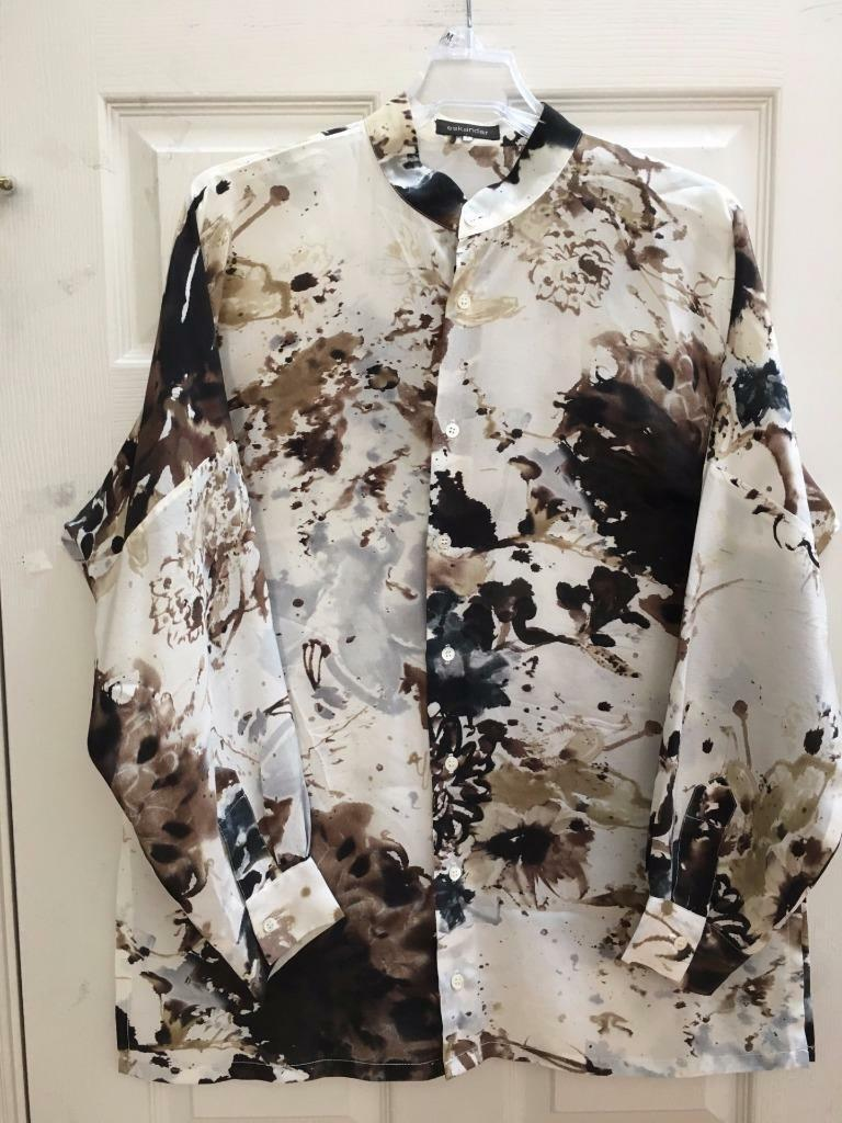 Eskandar Talla 1 L XL 1X  Marfil Camisa de seda larga floral abstracto  100% garantía genuina de contador