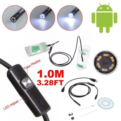 1m-5m 5.5mm boroscopio endoscopio impermeable camara de inspeccion 6led Android#