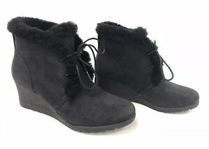 1ae259ac933 Details about UGG Australia Jeovana Boots Black Suede Waterproof WP 1017421  Wedge Lace ~