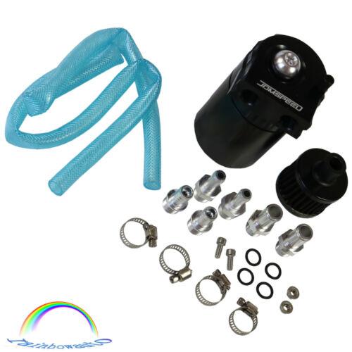 Blcak Cylinder Aluminum Engine Oil Catch Reservoir Breather Can Tank Filter Kit