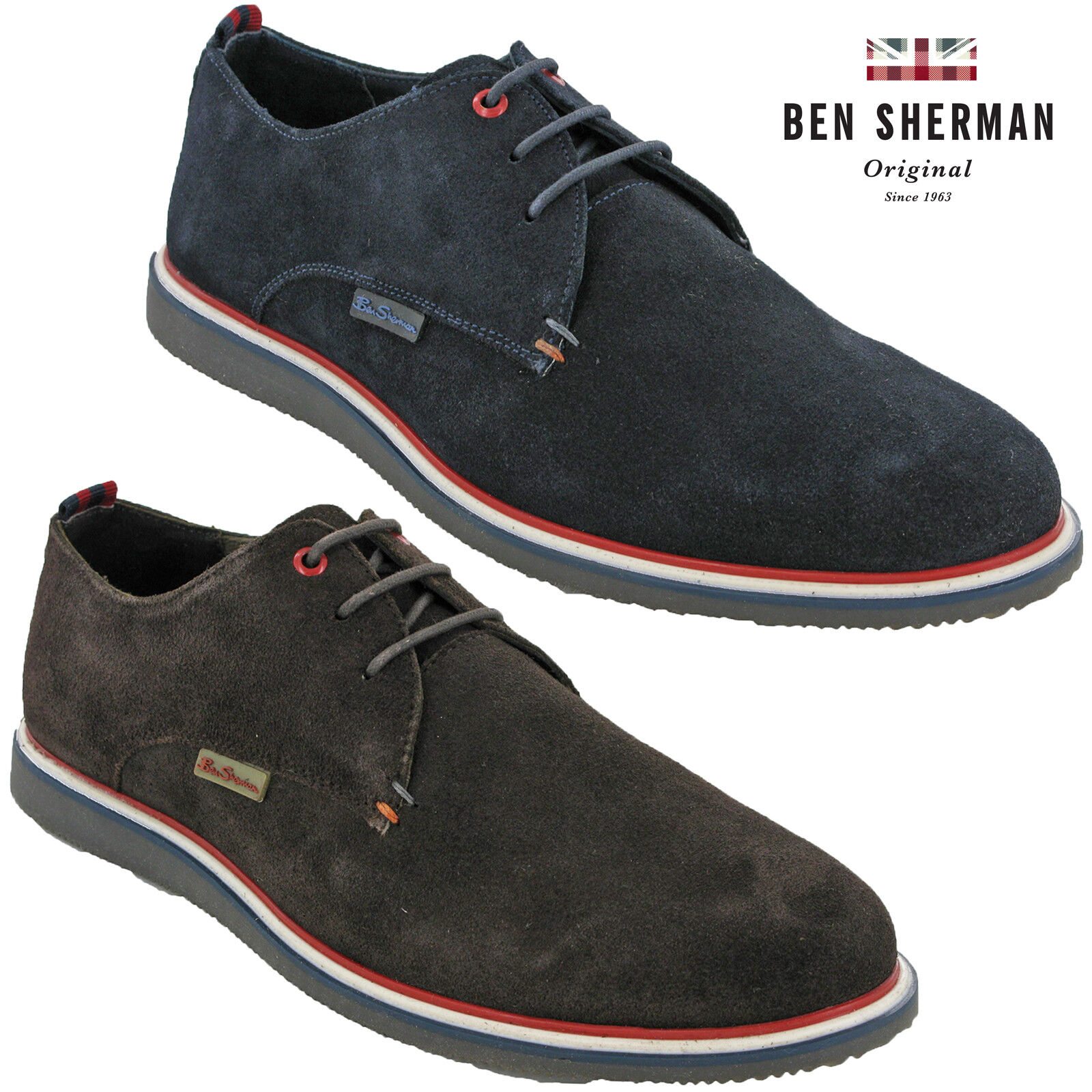 Ben Sherman Casual schuhe Suede Leather Work Mens Flat Fashion Trainers Lace