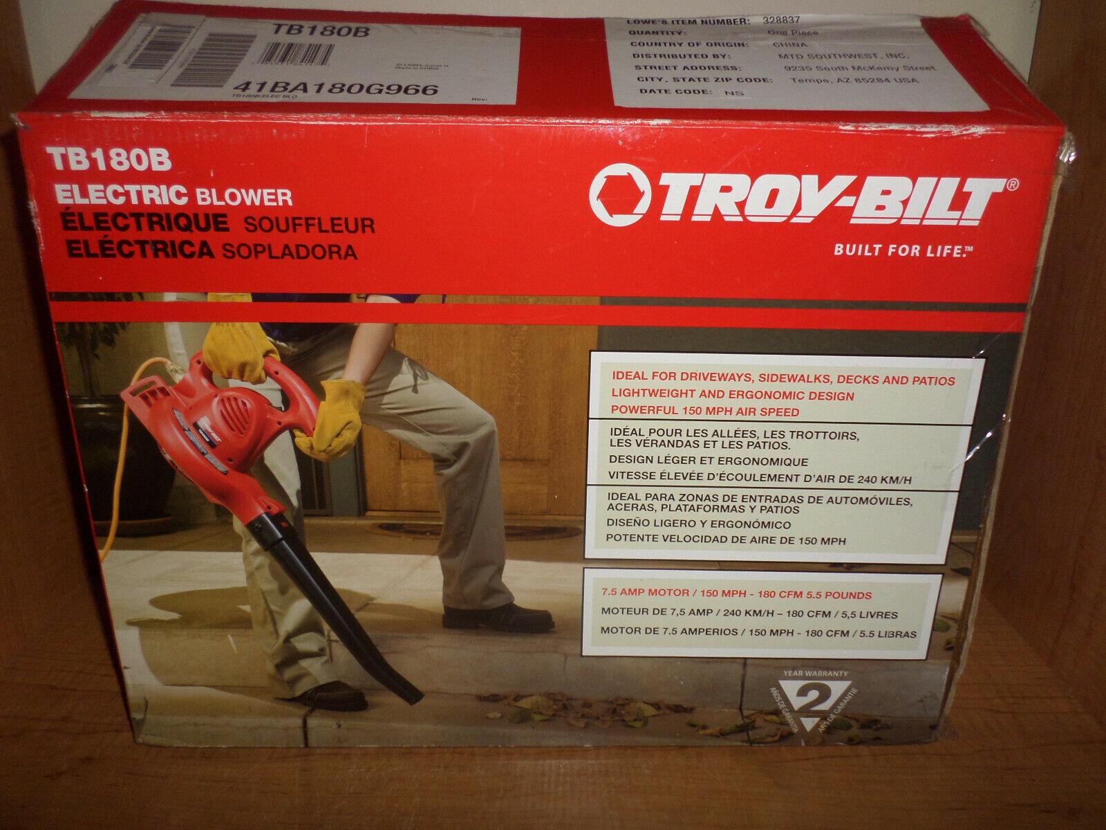 Troy Bilt 7 5 Amp 150 Mph Corded Electric Leaf Blower Lightweight Design New For Sale Online Ebay