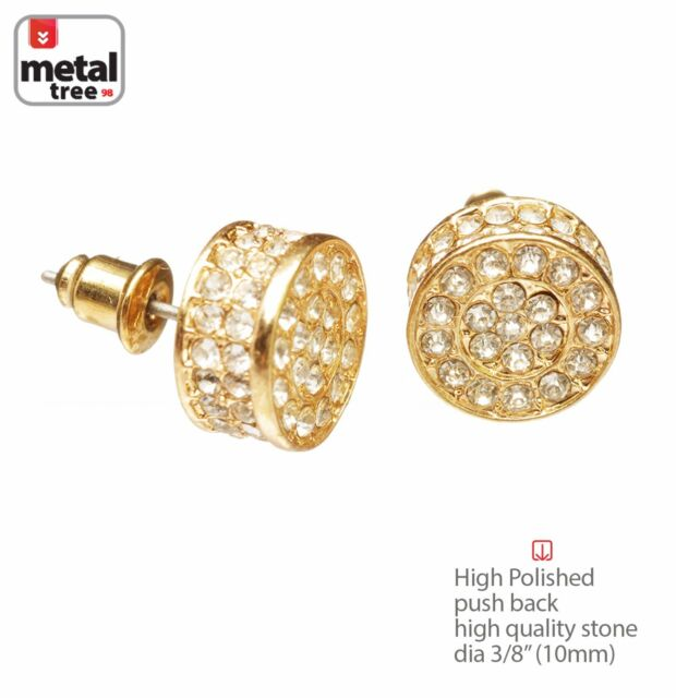 14k Gold Plated Cz Micro Pave Round Earrings Stud