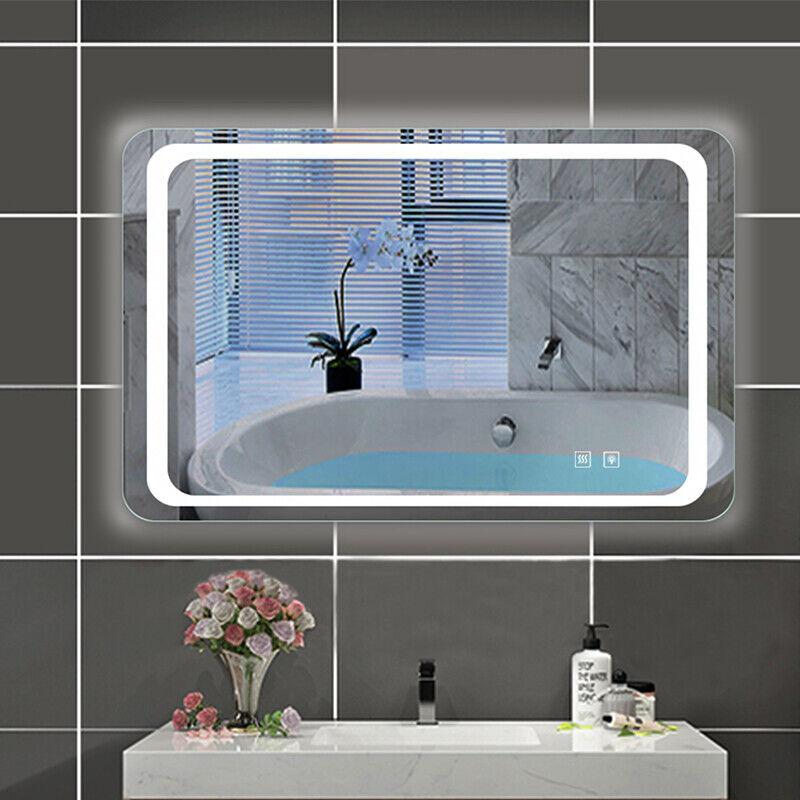 Badezimmerspiegel mit Beleuchtung 60-140 cm Touch Beschlagfrei LED Badspiegel